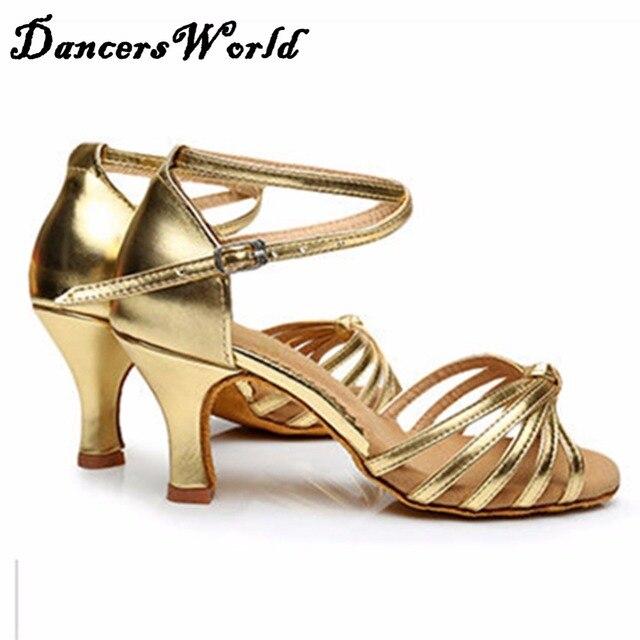 06256f94fa US $25.0  Signore Latino Scarpe Da Ballo Oro Nero Del Nastro Del Leopardo 7  cm/5 cm Altezza Tacco Slip On Scarpe Danza Economico femminili Sala Da ...