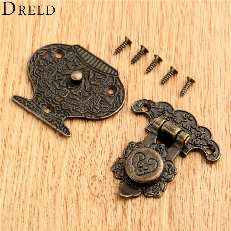 DRELD 37x46mm Antique Wooden Case Hasp Funiture Hardware Vintage Decorative Hasp Lock Latch Buckle for Jewelry Wooden Box Drawer