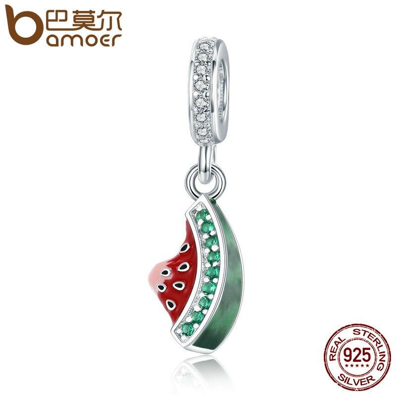 BAMOER Authentic 925 Sterling Silver Watermelon Dazzling CZ Charm Pendant fit Charm Bracelet Necklace DIY Beads Jewelry SCC443