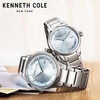 Kenneth Cole оригинал пару Часы Для мужчин Для женщин Нержавеющаясталь браслет Водонепроницаемый Серебряная подарок любовника простой Часы