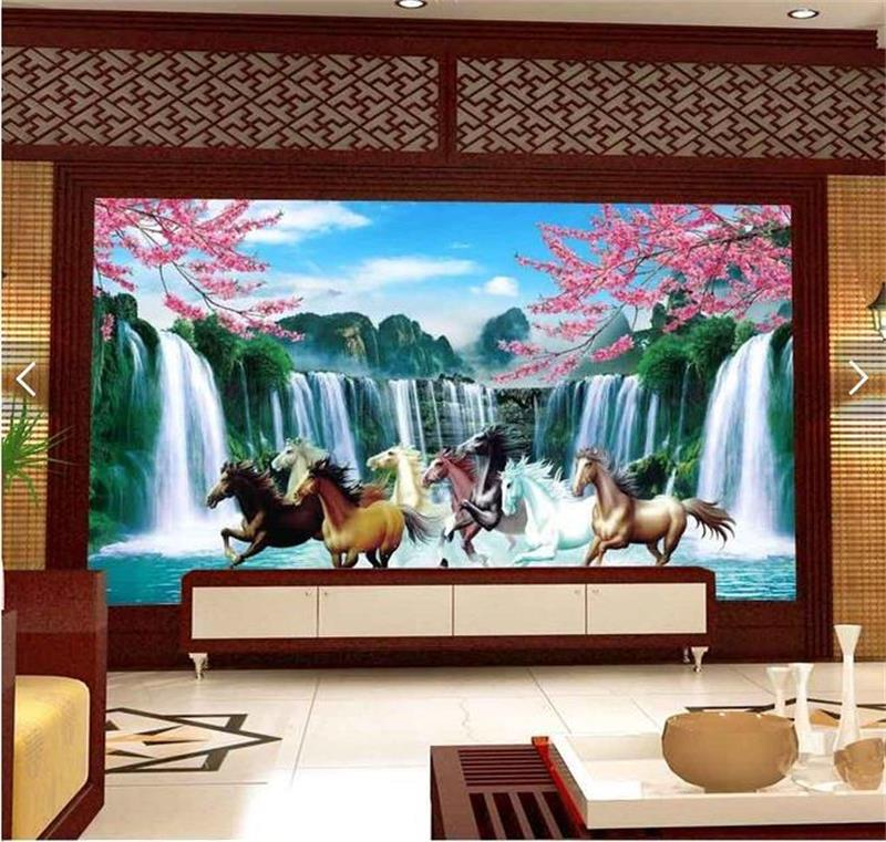 custom 3d wallpaper photo wallpaper living room mural horse waterfall scenery painting sofa TV background wall non-woven sticker free shipping european tv background wall painting non woven wallpaper living room wallpaper modern rose wallpaper mural