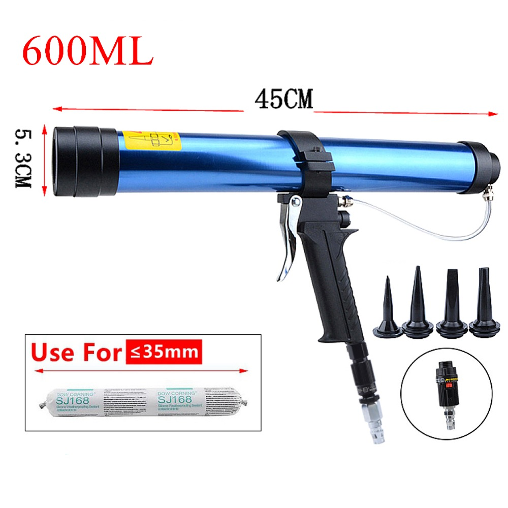 цена на New 600ml Pneumatic Sealant Gun Air Gun Valve Silicone Sausages Caulking Tools Caulk Nozzle Glass Rubber Grout Construction Tool