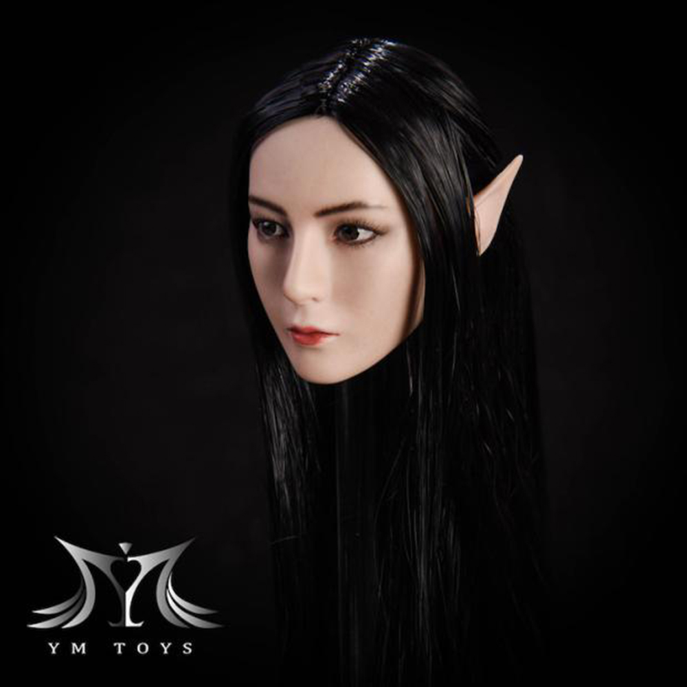 1//6 Fairy Elf Female Head Sculpt W// Detachable Ears PALE for 12/'/' PHICEN Figure