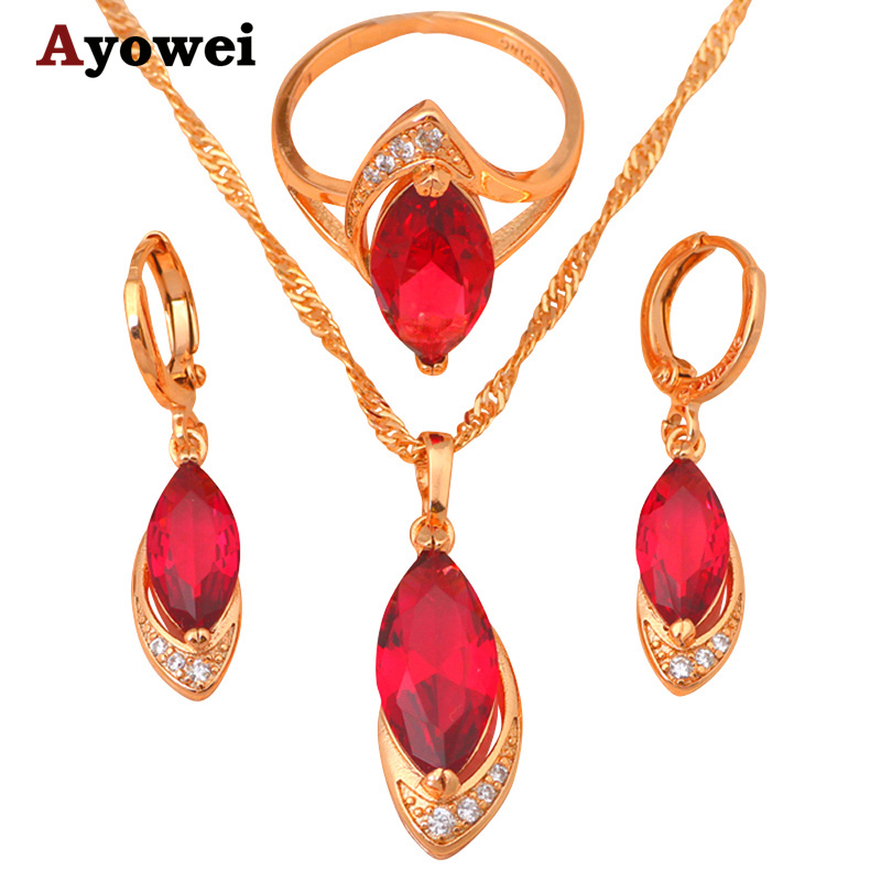 Gold tone Crystal Zirconia Necklaces & Pendants Earrings ring Jewelry Crystal Set Fashion Jewelry Ring sz #6 #7 #8 JS070A