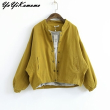 Women Jacket 2018 Autumn Winter Solid Color Long Sleeve Cott