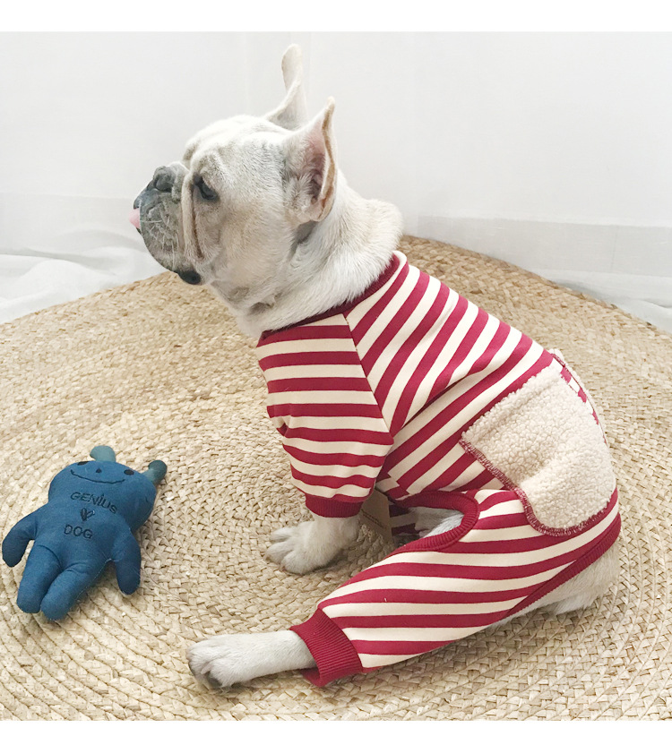 dc0c16b77fd9 Cute Striped Dog Jumpsuits Pajamas Winter Soft Four-legged Rompers Pet  Clothes for Small Dogs Sweater French Bulldog Coat XQ121