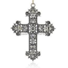 Старинное Серебро Покрытием Сплава Rhinestone Крест Подвески, расцветший Крест, кристалл, 85x57x6 мм, отверстие: 4 мм