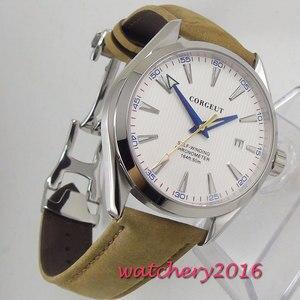 Image 5 - 41 มม.Corgeut ขาว Dial สแตนเลสสตีลแก้วไพลินสีฟ้ามือการเคลื่อนไหวอัตโนมัติ Miyota นาฬิกาผู้ชาย