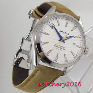 Image 5 - 41mm Corgeut White Dial Stainless steel Case Sapphire Glass Blue Hand Miyota Automatic Movement mens Watch
