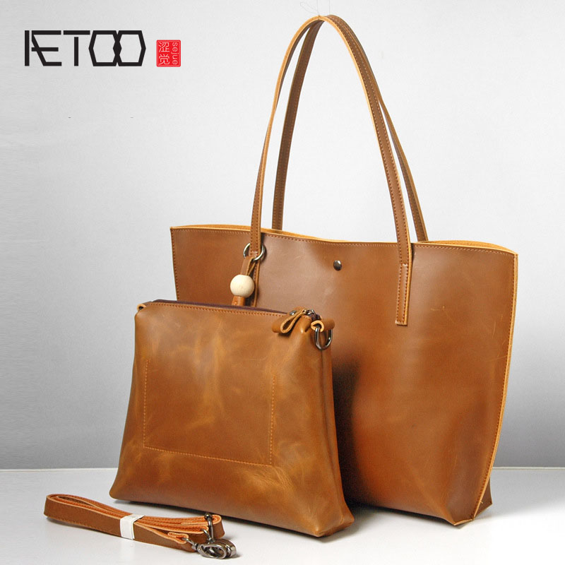 AETOO Cowhide handbags 2017 new simple leisure ladies handbag retro leather shoulder bag large capacity daughter bag 2017 new fashion women long cotton coats size s 2xl hooded collar warm parkas winter black navy green color woman parkas qh0449