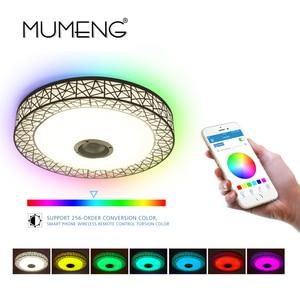 Image 4 - Mumeng Rgb Plafondlamp 36W Dimbare Kleurrijke Party Lamp Bluetooth Speaker Muziek Audio Luminaria 90 265V Metalen acryl Armatuur