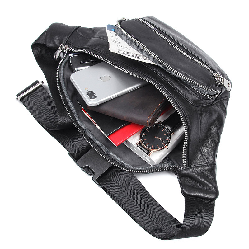 Genuine Leather Men Waist Pack Casual Multi functions Fanny Pack New Vintage Male Travel Phone Pouch Shoulder Bag 3020A 3020Q in Waist Packs from Luggage Bags