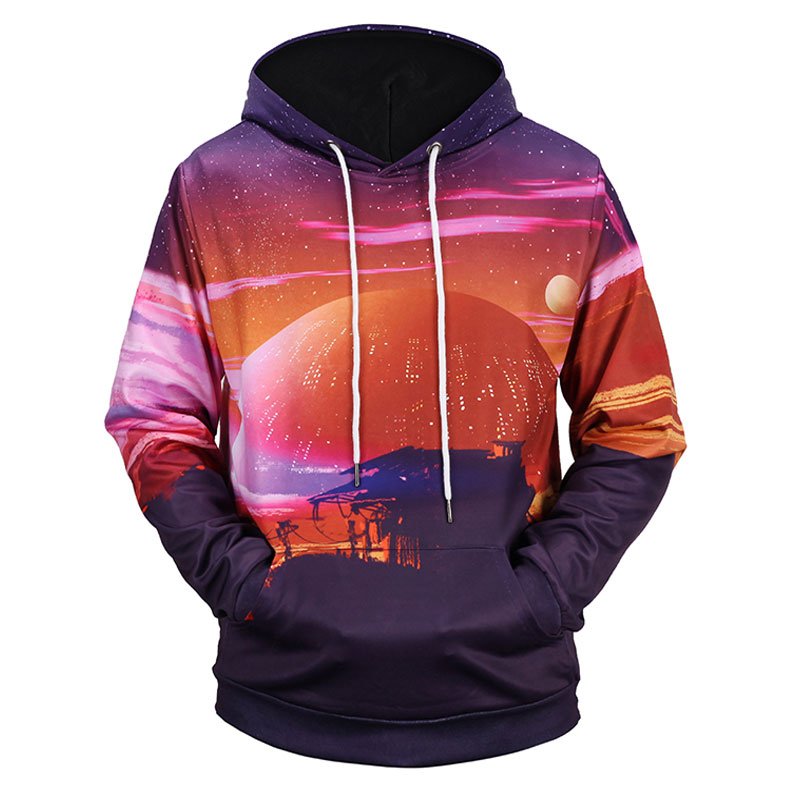 Headbook New Fashion Women/Men 3d Sweatshirts With Hat Print Sunset Village Space Galaxy Hooded Hoodies Hoody H1302