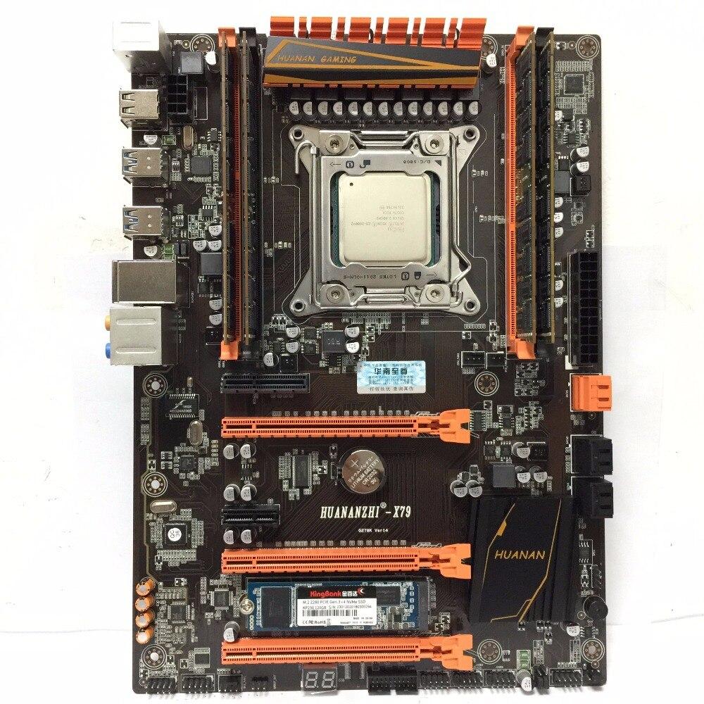 Nouveauté! HUANAN ZHI X79 LGA 2011 set carte mère Xeon E5 2680 V2 RAM 32 GB (4X8 GB) DDR3 1600 MHz ECC REG 120G M.2 SSD