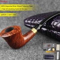 NewBee 10 Tools Set Imported Briar Wooden Tobacco Pipes Handmade Metal Loop Men Bent Smoking Pipe