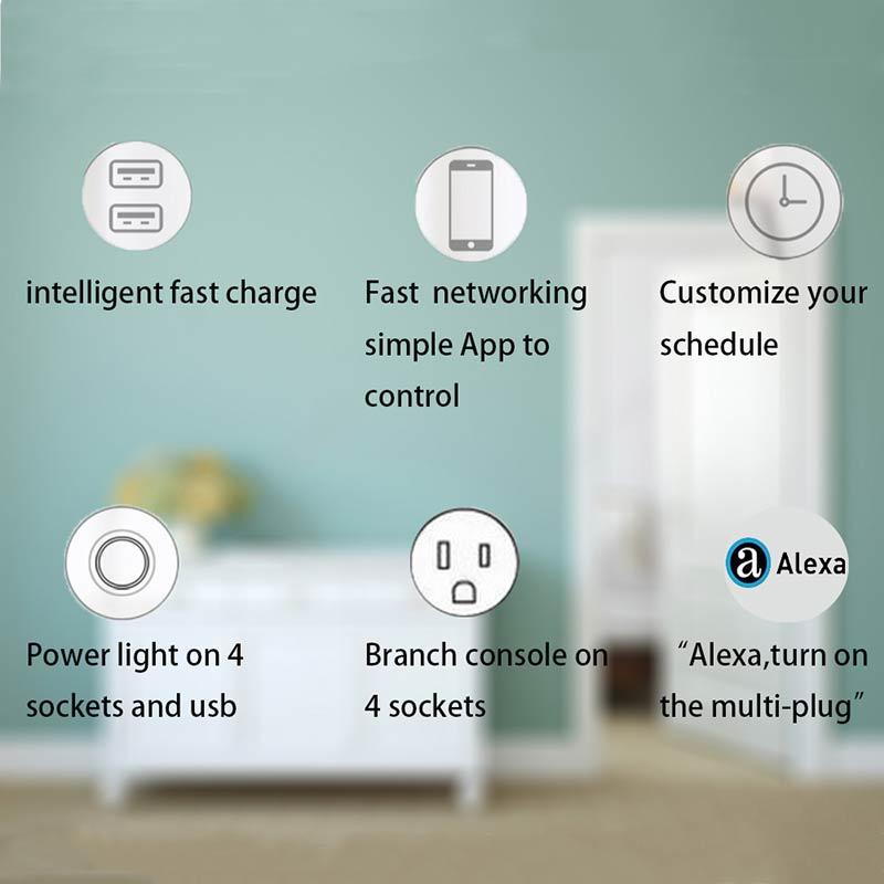 Jinvoo WiFi Smart Power Strip Surge Protector 4 Socket