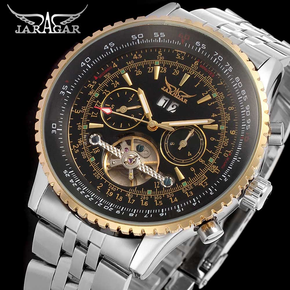 Fashion JARAGAR Men Luxury Brand Watch Military Stainless Steel Watches Tourbillion Automatic Mechanical Wristwatches Gift BoxFashion JARAGAR Men Luxury Brand Watch Military Stainless Steel Watches Tourbillion Automatic Mechanical Wristwatches Gift Box