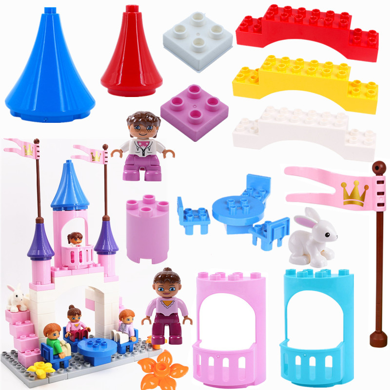 Single Sales Accessories Dream Princess Castle Building Blocks Bricks Compatible With L Brand Duploed Parts Toys For Children