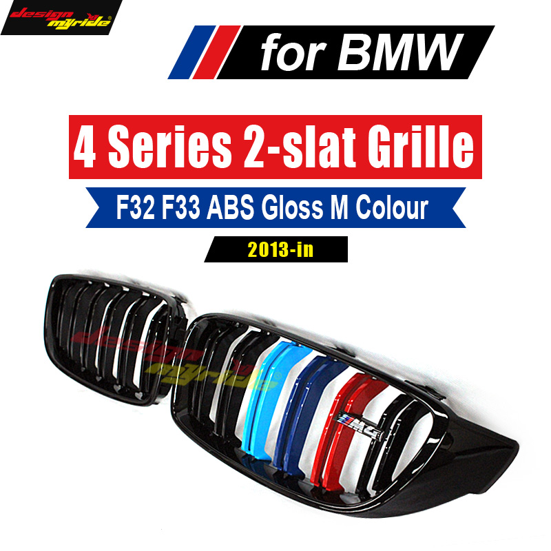 M4 Style ABS M Color Front Kidney Grille For BMW F32 F33 F36 F80 M3 F83 F82 4 Series 420i 425i 428i 430d 430i 435i 440i 2013-18 2pcs new style m performance side skirt sill decal stripe vinyl sticker for bmw 4 series f32 f33 420i 428i 435i