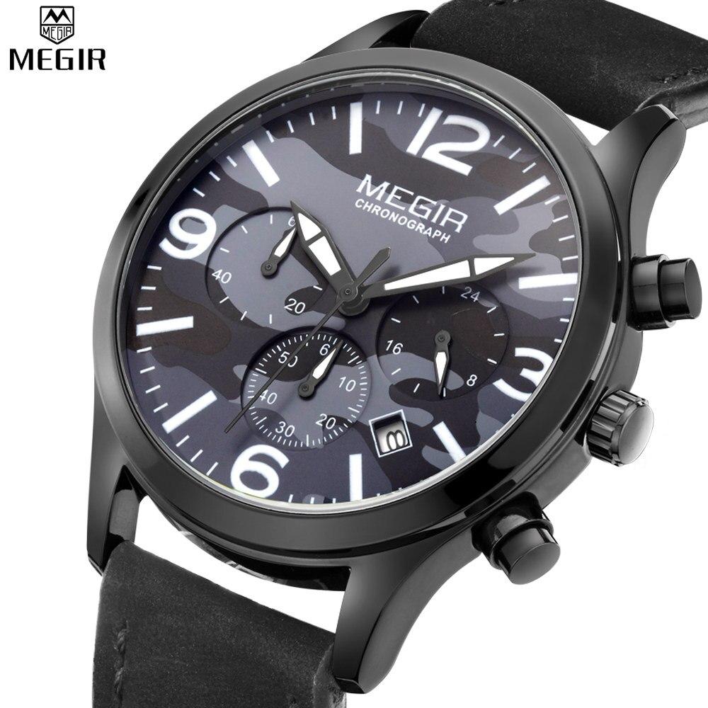 MEGIR Men Chronograph Military Sport Watch Camouflage Dial Future explorers Automatic Outdoor Watch Commando Dress Watch
