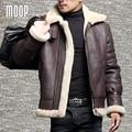Invierno abrigos de piel de oveja de piel de oveja de cuero genuino de los hombres piloto de motos chaquetas manteau homme veste cuir homme LT1107