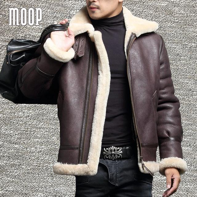 Winter men genuine leather coats sheepskin shearling fur pilot motorcycle jackets manteau homme veste cuir homme LT1107