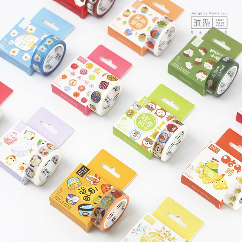 1.5cm*7m Cute cartoon animal washi tape DIY decorative scrapbooking planner masking tape adhesive tape kawaii stationery ezone 1pc kawaii watercolor sakura petal washi tape diy decorative scrapbooking sticker planner masking adhesive tape stationery