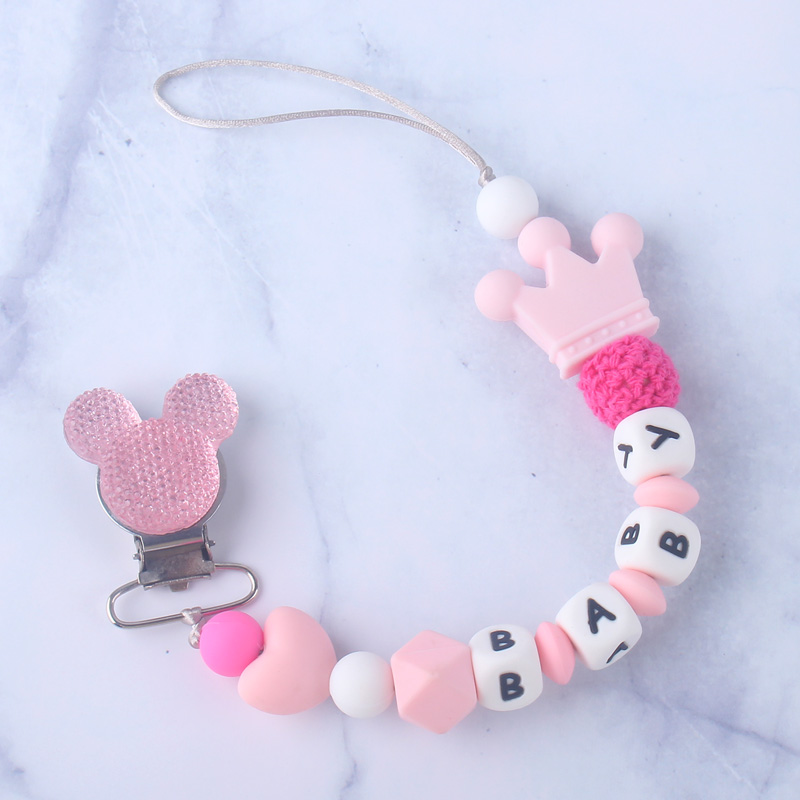 Customized Name Baby Pacifier Clips Mouse Clip Silicone Nursing Teething Dummy Nipple Holder Soother Chain