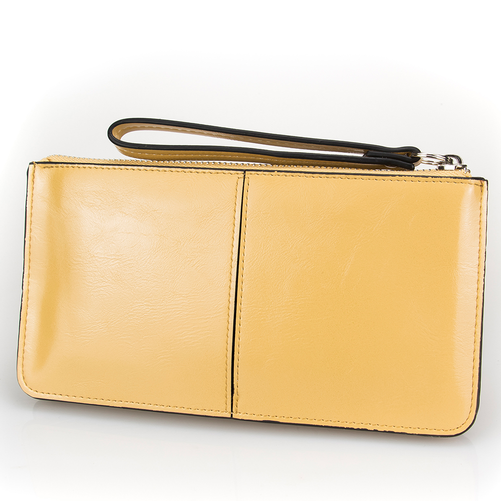 Solid Khaki Day Clutch Women Leather Hand Bag Minimalist Zipper Purse Phone Card Money Holder Handbag Clutch Bag Wallet