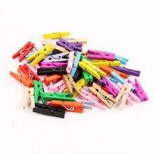 100 шт милые деревянные Мини-зажимы 2,5 см цветные вечерние украшения для самодельного изготовления художественные колышки милые маленькие Пружинные зажимы бумажные фотофоны
