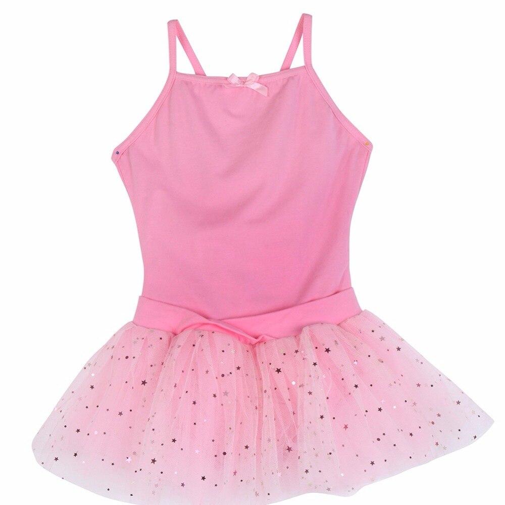 Solid Latin Dress Dance Dress Ballet Tutu Skirt Skating Gymnastic Sportwear Leotard Girl Party Dresses Pink