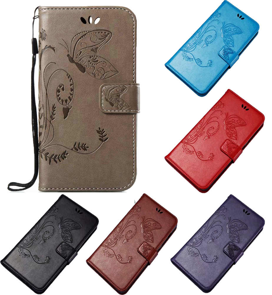 Butterfly Fashion Kulit Flip Wallet Case Cover For ZTE Blade V8 Mini Pro Baru Perlindungan Ponsel Shell