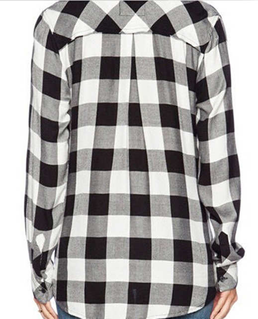 FANALA Shirt Women Blouse 2017 Tops Blusas Female Plaid Shirts Loose Cotton Blouses Women Long Sleeve Leisure Black And White