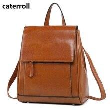 small school bags for teenage girls luxury brand waterproof bagpack vintage genuine leather backpack women