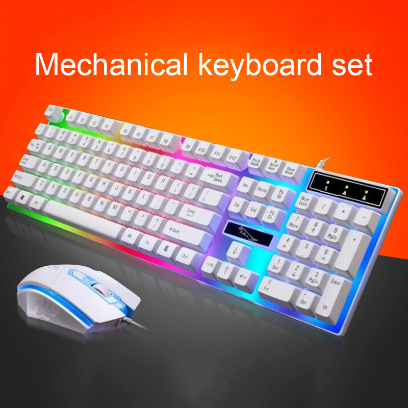 PARASOLANT Wired USB LED Light Keyboard And Mouse Set White Black Laptop Computer Colorful Gaming Backlit Keyboard Mouse Combos