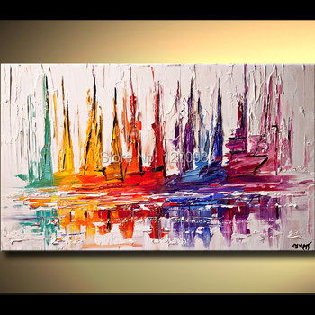 Top Skill Handmade Modern Abstract Colorful Sailing Boat Wall Art Oil Painting on Canvas Hand-painting Home Decorative Pictures