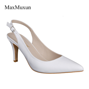 Image 4 - Maxmuxun Women Shoes High Heel Pumps Black Silver Red Pointed Toe Sexy Dress Slingback Shoes Stiletto Sandals For Wedding Party