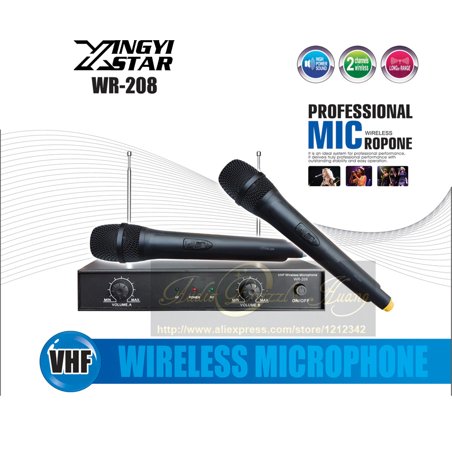 Professional WR208 Handheld Dyanmic VHF Wireless Microphone System Mic For KTV DJ Karaoke Stage Fio Microfono Mikrofon Microfone hot sale rechargeable handheld mic 200 selectable channel em3033 skm 5200 skm5200 wireless microphone system for stage ka