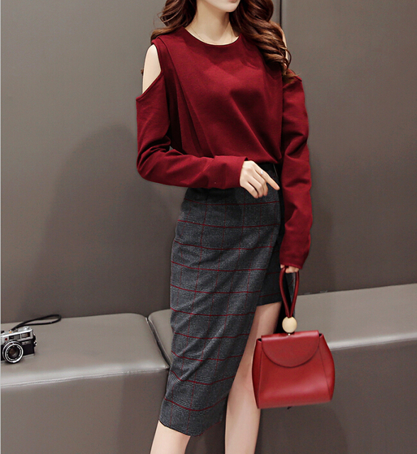 Sexy Women 2pcs Skirt Suit Plaid High Split Skirts and Off Shoulder Long Sleeve Shirts 2017 Spring Female Casual Sets Two Piece