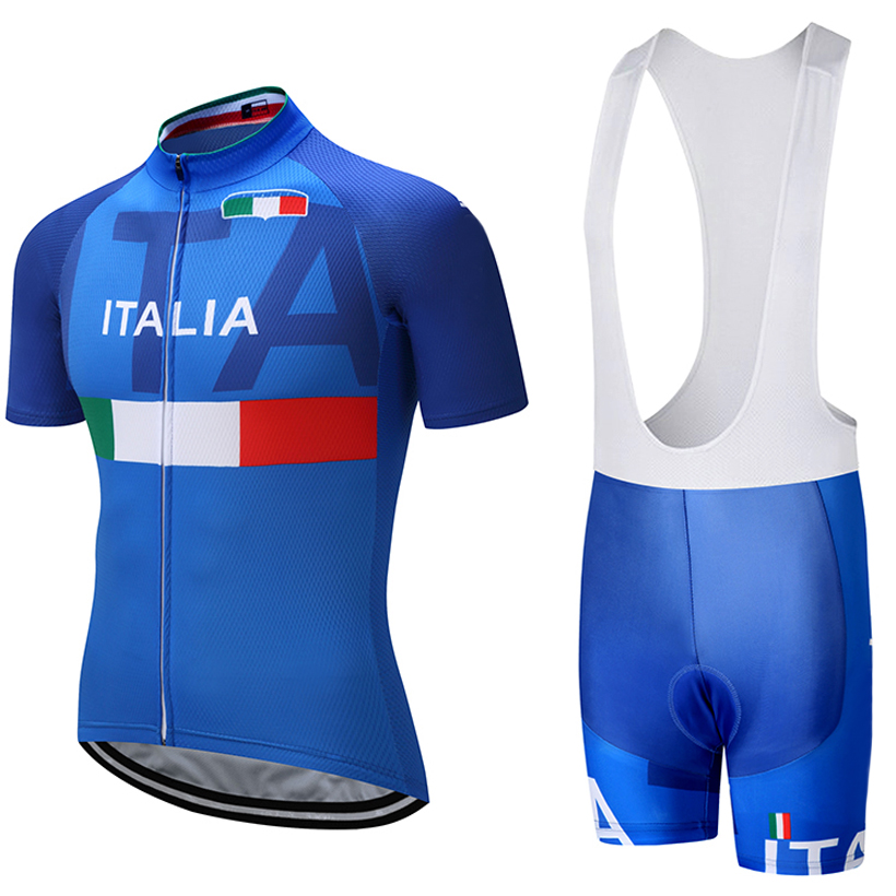 2018 ITALIA TEAM PRO cycling jersey 9D pad bavaglini pantaloncini set Ropa ciclismo mens estate quick dry bike maglie Maillots Culotte