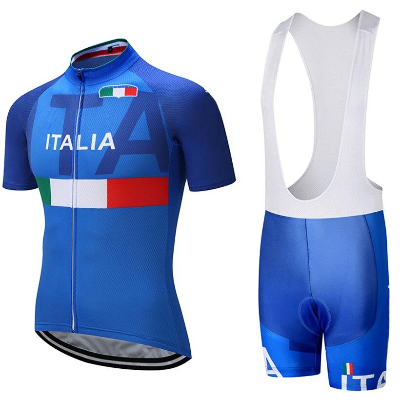 2018 ITALIA TEAM PRO cycling jersey 9D pad bavaglini pantaloncini set Ropa ciclismo mens estate quick dry bike maglie Maillots Culotte