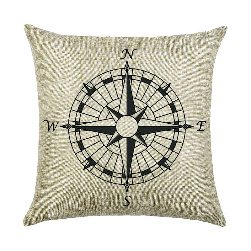 Creative printing linen pillowcase compass boat anchor home pillows cushion cover without pillow inner