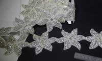 2016 nouveau Design super luxe! 1 jarda / lot rhinetone sash ceinture headhand fleur garniture, Strass applique coudre sur perles garniture decorativ