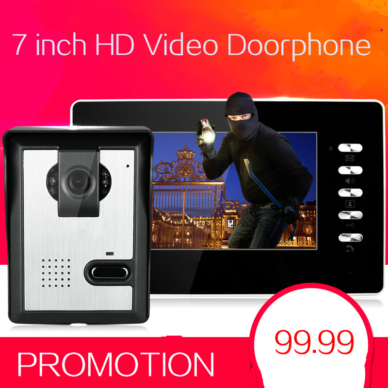 7 inch TFT LCD Touch Video Door Phone Intercom Doorbell Outdoor Infared Security Camera Lock Control Monitor Door Bell Door Ring 7 inch video doorbell tft lcd hd screen wired video doorphone for villa one monitor with one metal outdoor unit night vision