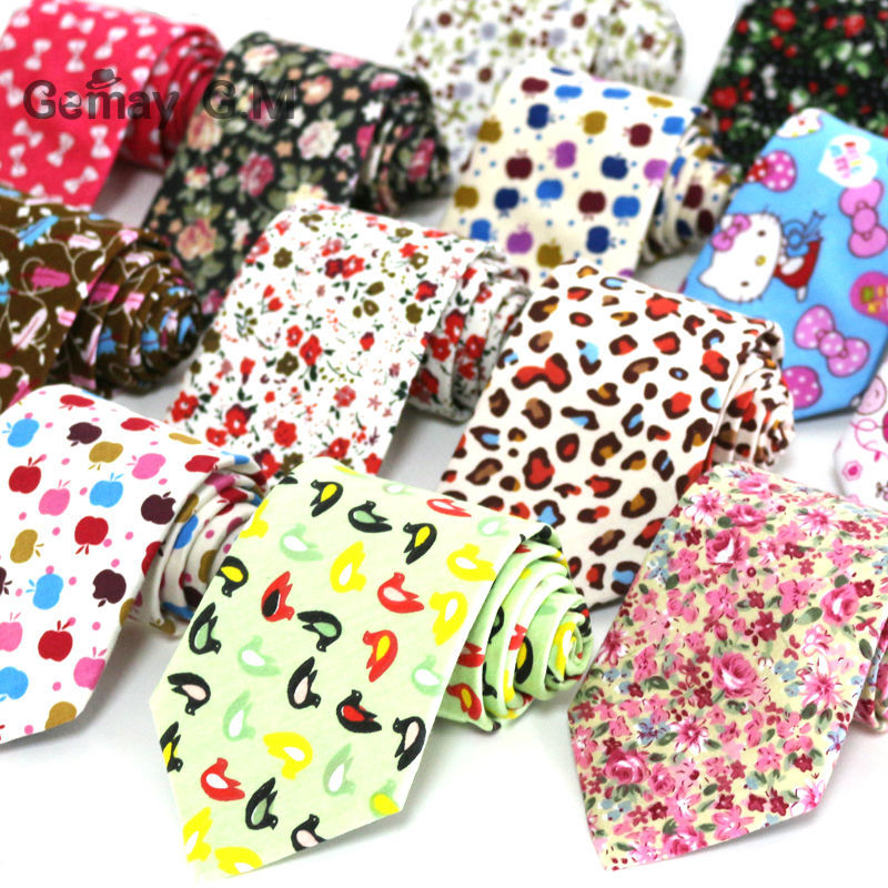 New Floral Print 100% Cotton Ties For Men 8.0 Width Goom Neckties High Quality Adult Neck Tie Free Shipping