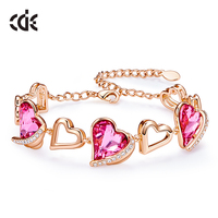 CDE Women Gold Bracelets Embellished With Crystals from Swarovski Heart Angel Wing Jewelry Chain Bracelets Bangles Jewelry
