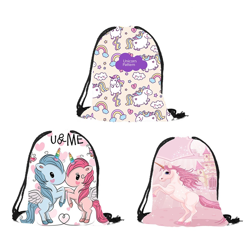 New Cute Kid Baby Unicorn Pattern Sport Bags Swimming Bags Gym Pump Bag Sports School Drawstring Boy Girl Backpack Hot Sale
