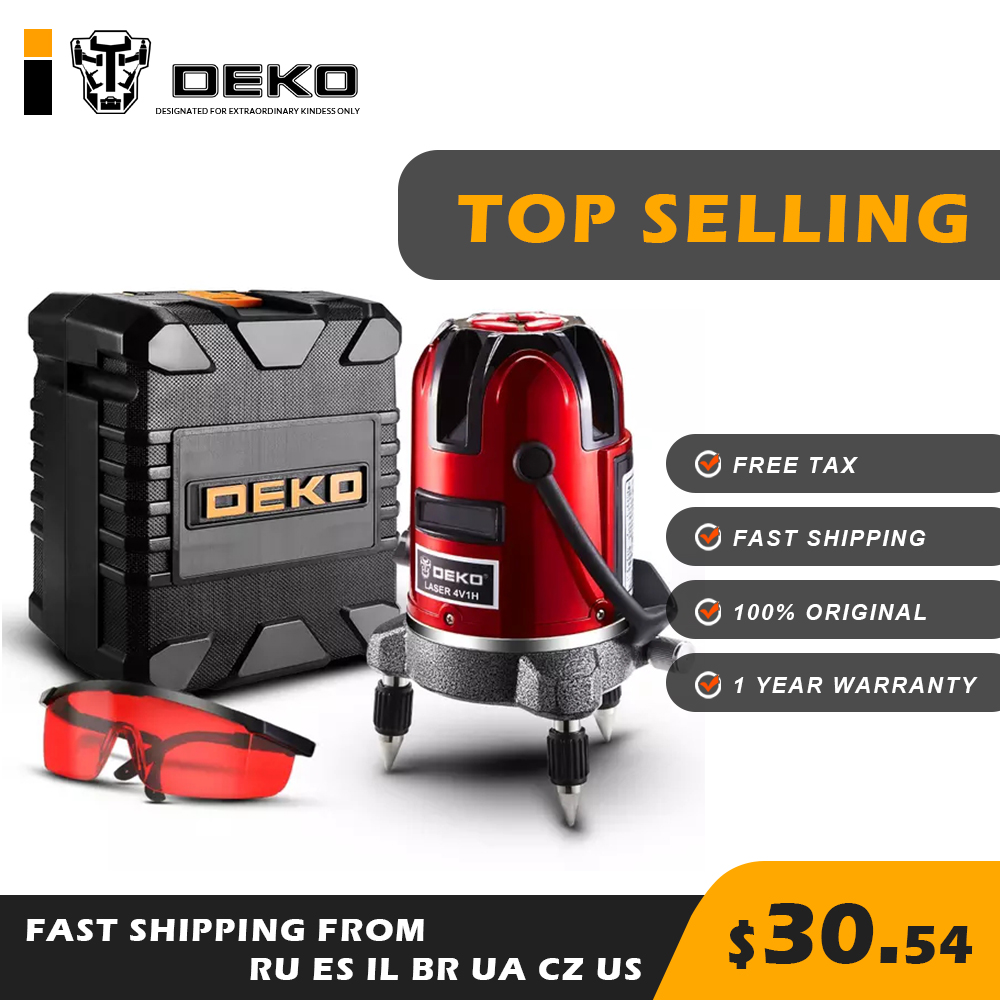 DEKO LL5 Series 5 Line 6 Points Red Laser Level Top Selling Horizontal Vertical 360 Accurate