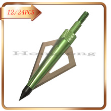 12/24pcs Green 125Gr Hunting Broadheads Crossbow Arrow Broadhead 3 Fixed Blades Archery Bow And Free Shipping