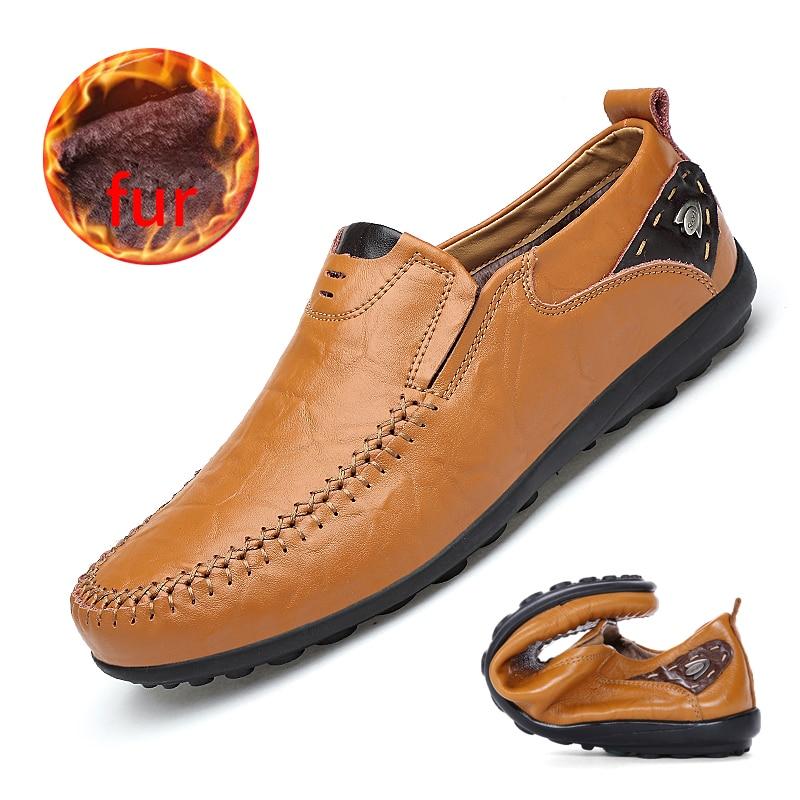 De luxe Designer Sneakers Hommes En Cuir Véritable Chaussures Slip Sur Mocassins Mocassins Hommes En Cuir Casual Chaussures D'été De Mode Grande Taille 46